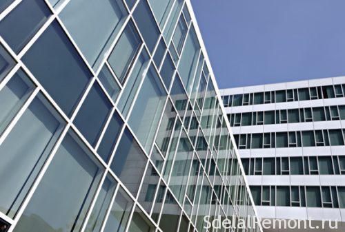 Напівзакритий стійко-ригеля метод скління Джерело: HTTP://www.beton-area.com/kak-ustanovit-na-fasad-zdaniya-steklopaketi-iz-alyuminievogo-profilya.html