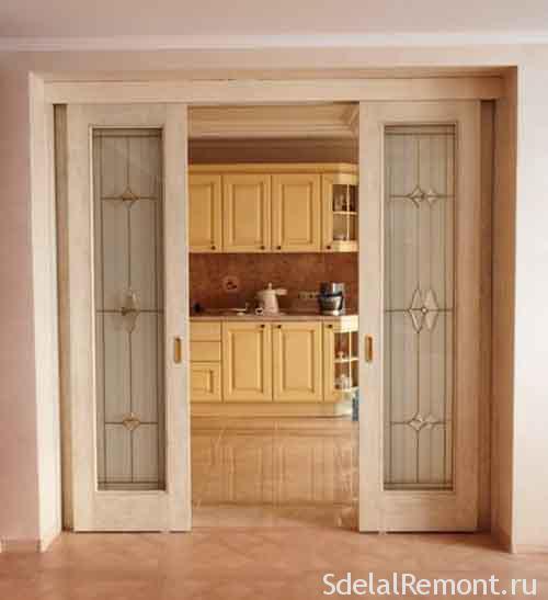 как выбрать и установить двойные раздвижные межкомнатные двери