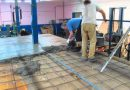 Installation of a concrete floor screed