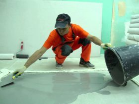 self-leveling floor finish layer
