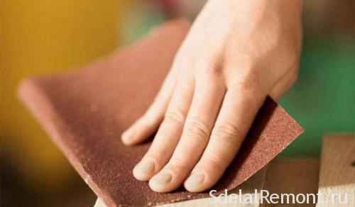 Обработка мебели нождачной бумагой
