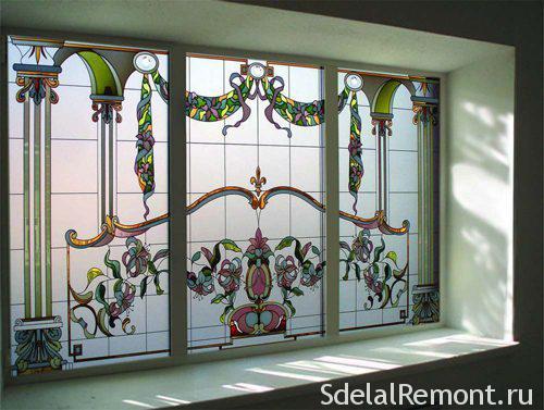 Plastic windows, stained glass door,