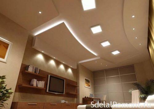 Потолок с подсветкой гипсокартон