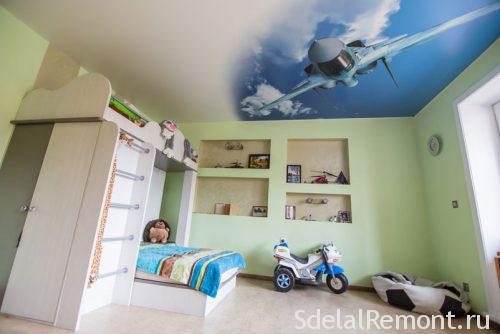 Потолки из гипсокартона для детской для мальчика