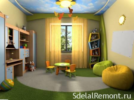 Дизайн потолка из гипсокартона в детской