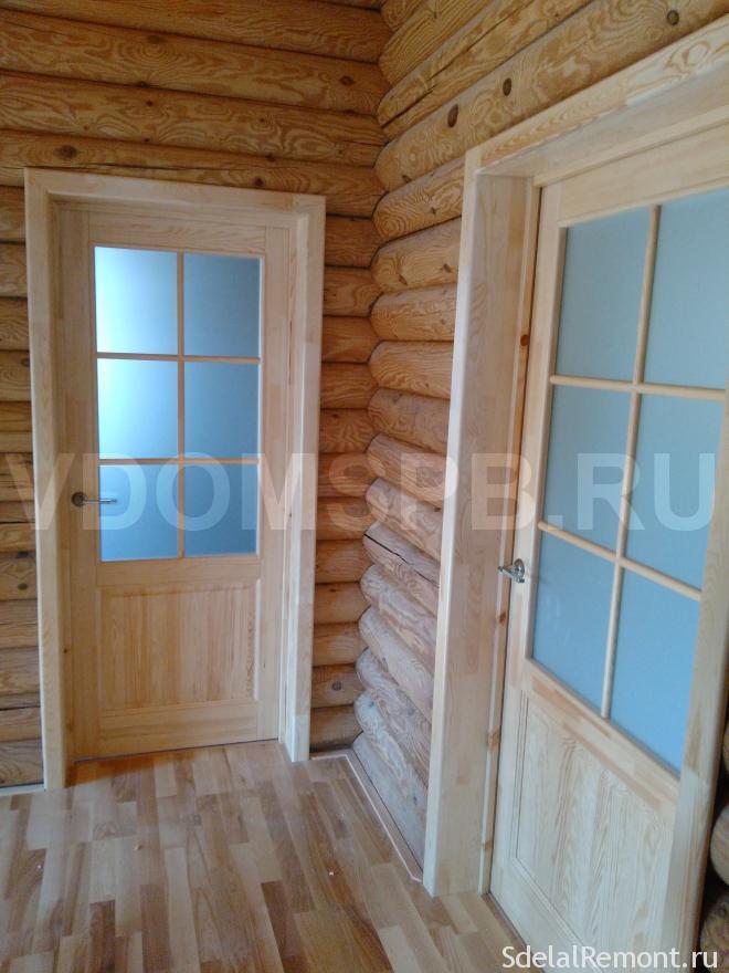 Двери из массива сосны подлаком