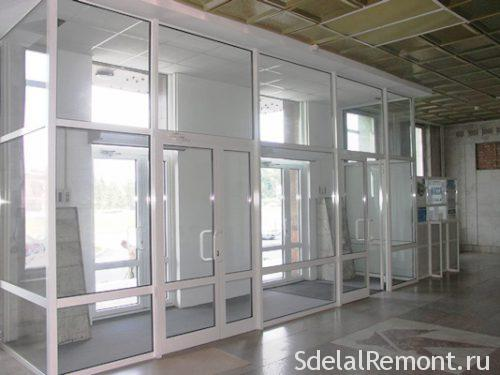 Entrance group of double-glazed windows
