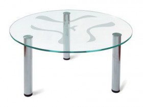 Glass coffee table with his hands