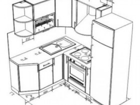 Угловая кухня чертеж