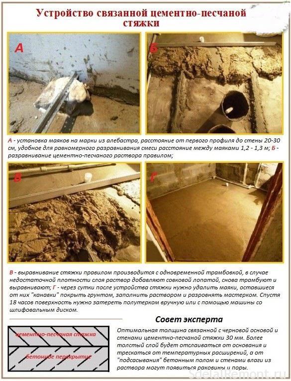 Как сделать цементно песчаную стяжку