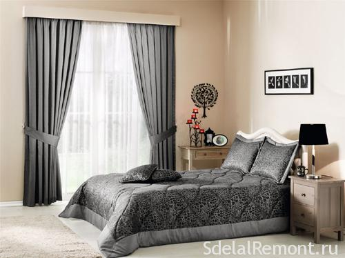 Серые шторы для спальни