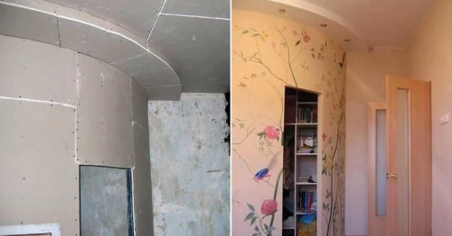 Dressing of the drywall corner with a circular septum