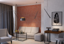 Features a selection of furniture for the interior in the style of a loft