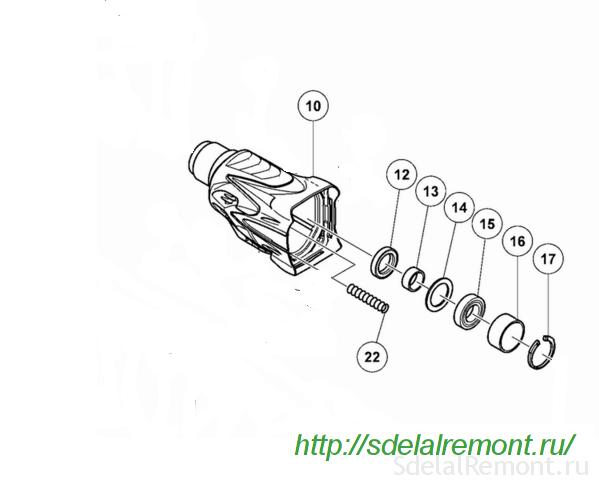 Схема запрессовки подшипника ствола в корпус перфоратора