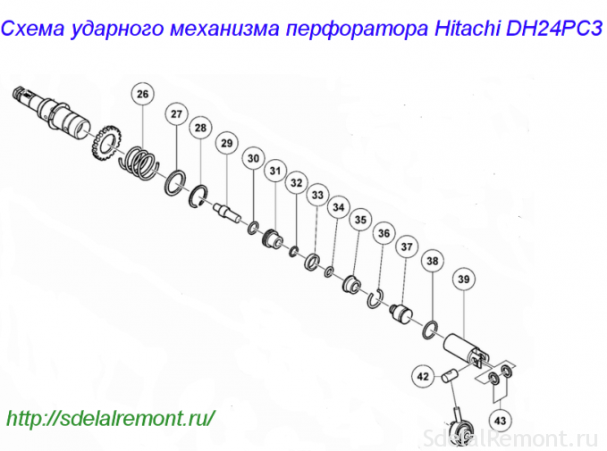 Схема ўдарнага механізму