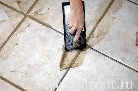 grout the tiles diagonally