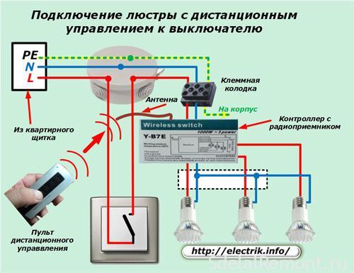Схема люстры с пультом