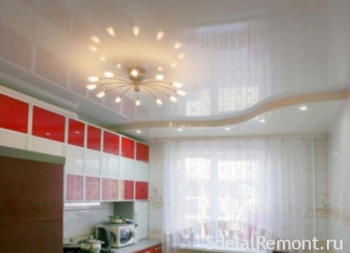 освещение в кухне с натяжными потолками