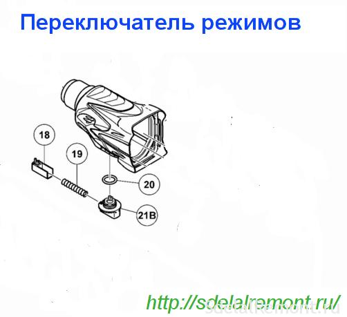 Схема сборки ручки переключателя режимов