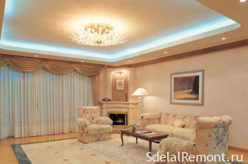 фото двухуровневые потолки из гипсокартона с подсветкой
