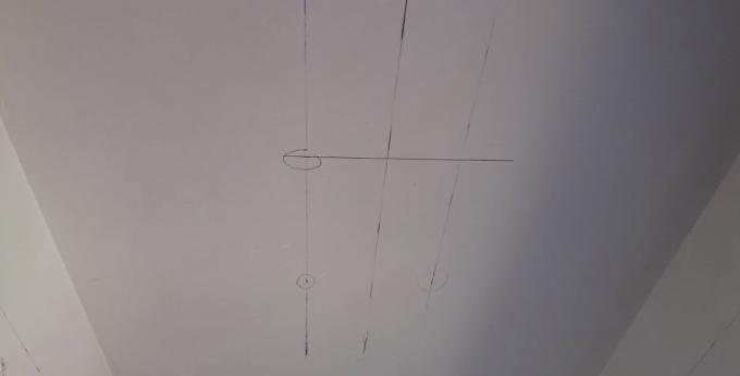 Разметка на потолке для ниши из ГКЛ под световую линию