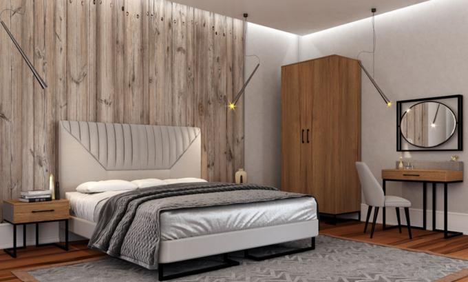 спальня ў стылі лофт з дрэвам