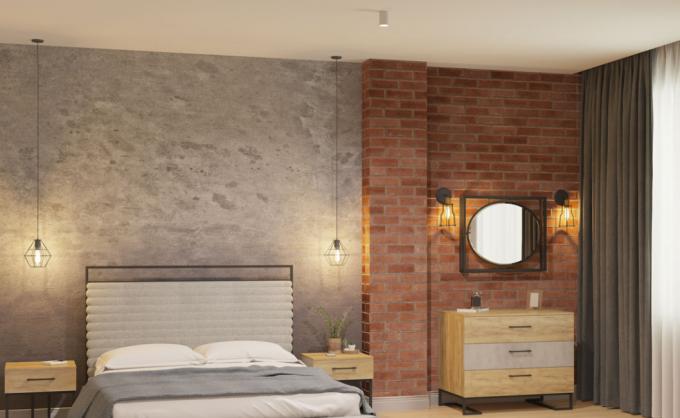 спальня ў стылі лофт з цэглай