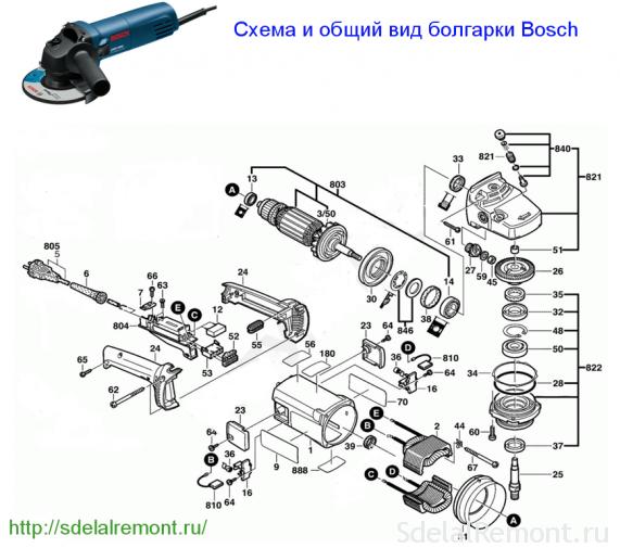 Схема зборкі балгаркі Bosch магутнасцю звыш 1000 Вт