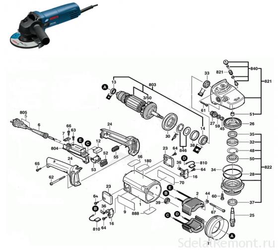 Схема болгарки Bosch