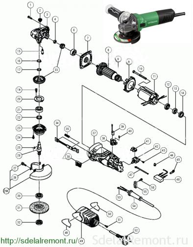 Схема болгарки Hitachi