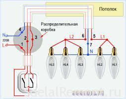 Схема подключения проводов к люстре
