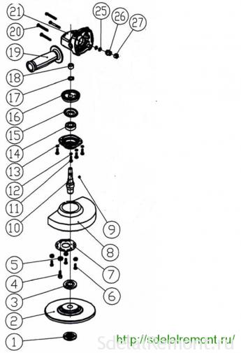 схема редуктора интерскол ушм 125-900