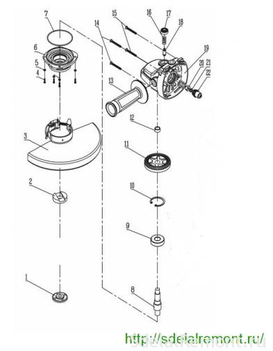 схема редуктора интерскол ушм 230-2000
