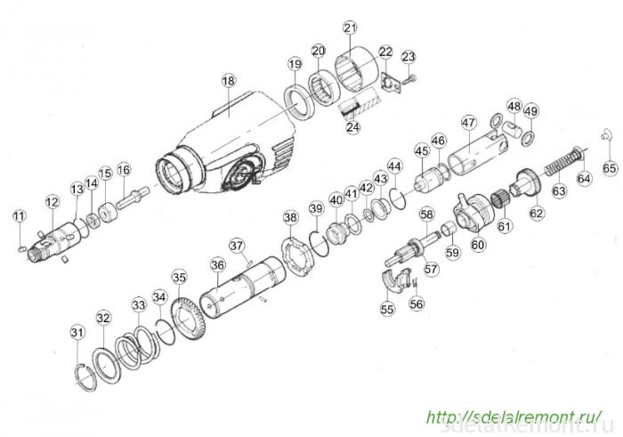 Схема ударного механизма перфоратора Интерскол П-26/800ЭР