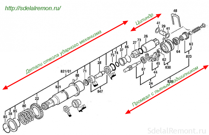 the hammer assembly, an intermediate shaft bearing and drunk