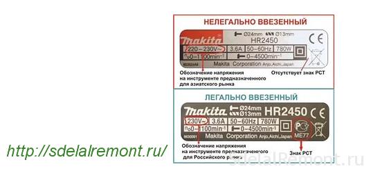 Шильдики наперфораторах Makita для российских и азиатских потребителей
