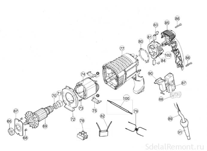 Schematic diagram Interskol perforator P-26 / 800ER