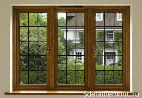 Modern wooden windows with double glazing
