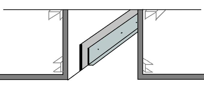 чертеж ниши с пластиковыми элементами для оргстекла