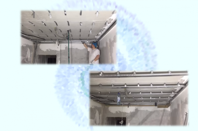 крепление подвесов, а также потолочных профилей для каркаса парящего потолка