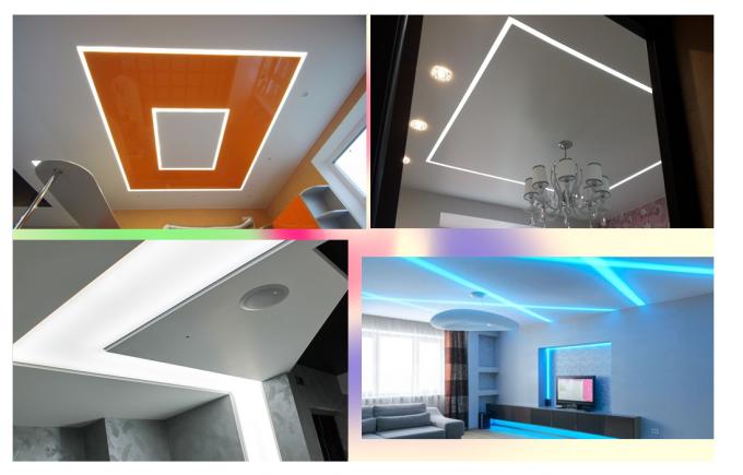Примеры парящих линий на потолке из гипсокартона