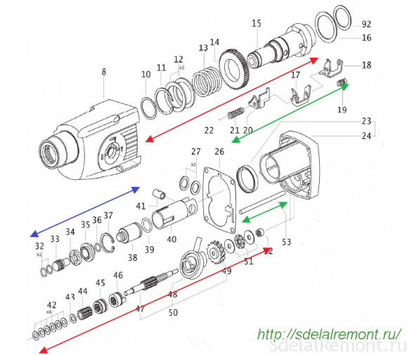 Схема ударного механизма и промежуточного вала перфоратора Интерскол П710ЭР