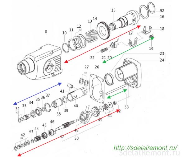 Scheme percussion mechanism and an intermediate shaft perforator Interskol P710ER