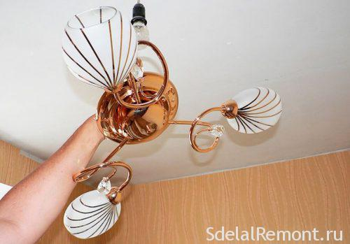 how to hang a chandelier with his own hands