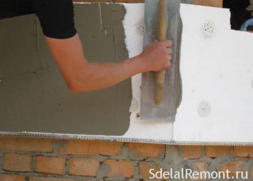самостоятельное утепление стен пенопластом