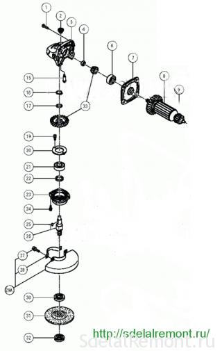 125 схема редуктора болгарки hitachi g 13 sb3