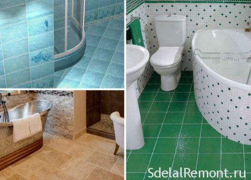 options for laying tiles in the bathroom : a photo