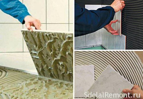 adhesive thickness when laying tiles