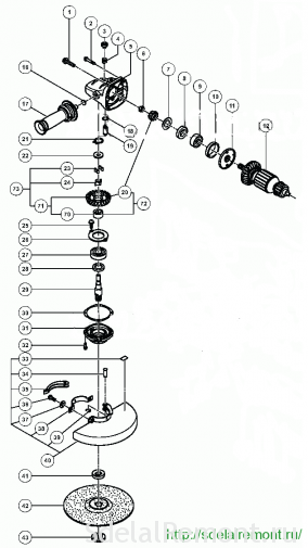 230 схема редуктора болгарки Хитачи g23 scy