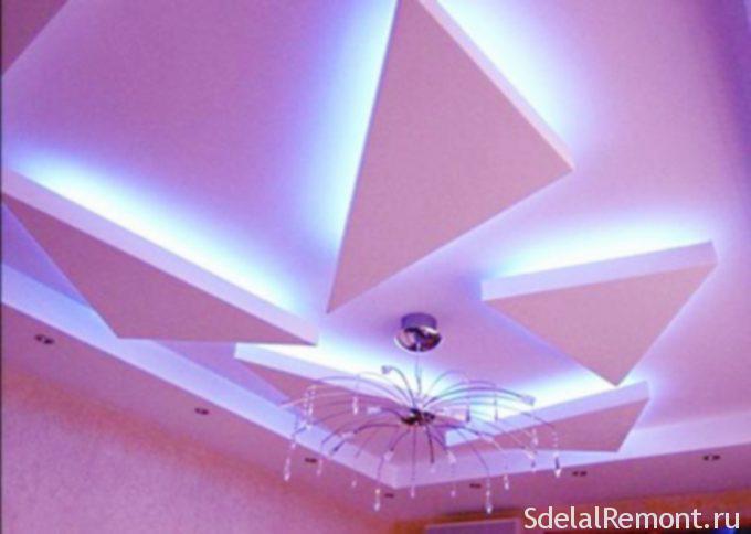 Парящие геометрические фигуры из гипсокартона на потолке